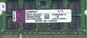 sodimm DDR2 1gb 800 Mhz PC6400 Kingston 300x300